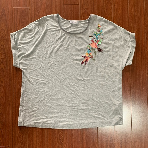 2 / $20 Grey T-shirt with Embroidery Detail